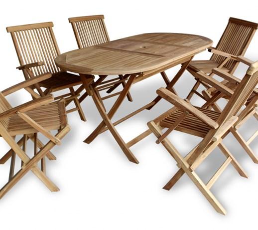 42004 vidaXL Zestaw jadalny ogrodowy z drewna tekowego zestaw 7