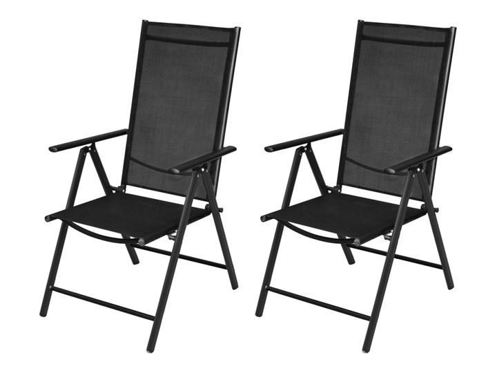 Vidaxl Składane Krzesła Ogrodowe 2 Szt Aluminiumtextilene Czarne