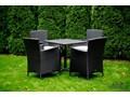 Meble z technorattanu dla 4 osób SEMPLICE technorattan Aluminium Stoły z krzesłami wiklina Tworzywo sztuczne ogrodowe tkanina Zawartość zestawu Stół