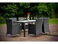 Technorattan zestaw stołowy CAPITALE ogrodowe szkło Aluminium Tworzywo sztuczne Zawartość zestawu Fotele tkanina Stoły z krzesłami wiklina Styl klasyczny