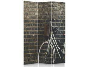 Rower na tle cegły, Parawan pokojowy dwustronny obrotowy 360° na płótnie - Canvas