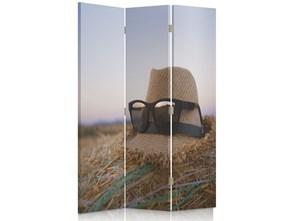 Kapelusz i okulary na sianie, Parawan pokojowy dwustronny obrotowy 360° na płótnie - Canvas