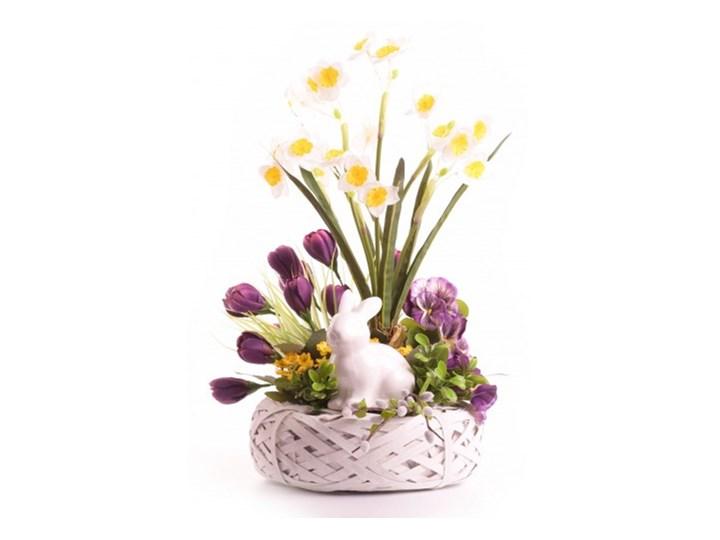 Stroik Z Ceramicznym Zajacem Wielkanoc śliwka Stroiki Wielkanocne