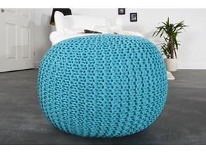 Puf/podnóżek Knitted Ball - turkusowy