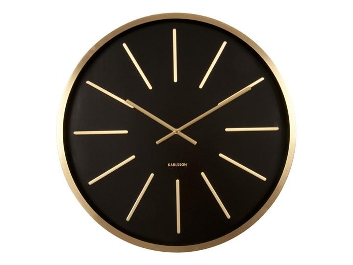 Karlsson :: Zegar ścienny Maxiemus Brass Station Black Ø60cm Okrągły drewno Metal Styl vintage Mechanizm kwarcowe