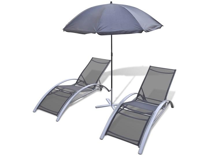 vidaXL Leżaki z parasolem, aluminiowe, czarne