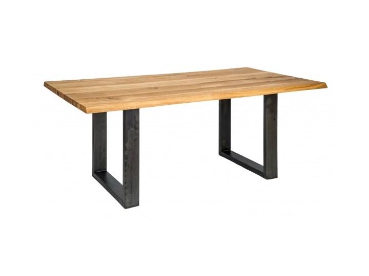 Signu Design Stół drewniany, dębowy Ferrum Nero / Bianco