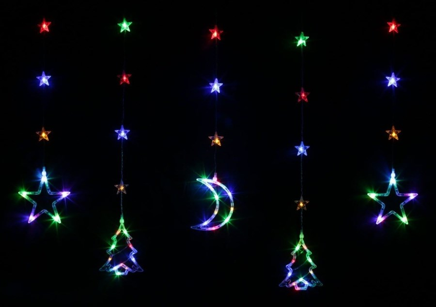 Bulinex Kurtyna świetlna Led Z Kolorowymi Dekoracjami świątecznymi