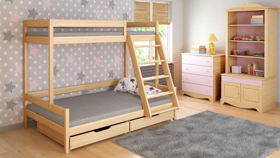 łóżko Trzyosobowe Lukdom Trio 90x200 140x200 łóżka Piętrowe