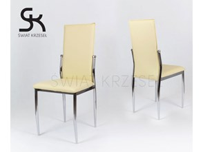 SK DESIGN KS004 CREAM Synthetic lether chair with chrome rack