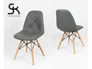 SK DESIGN KS007 GREY Synthetic lether chair with wooden legs