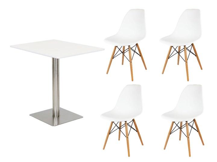 Allegro Zestaw Biały Stół 60x80 Na Chrom 4 Krzesła Stoły Z