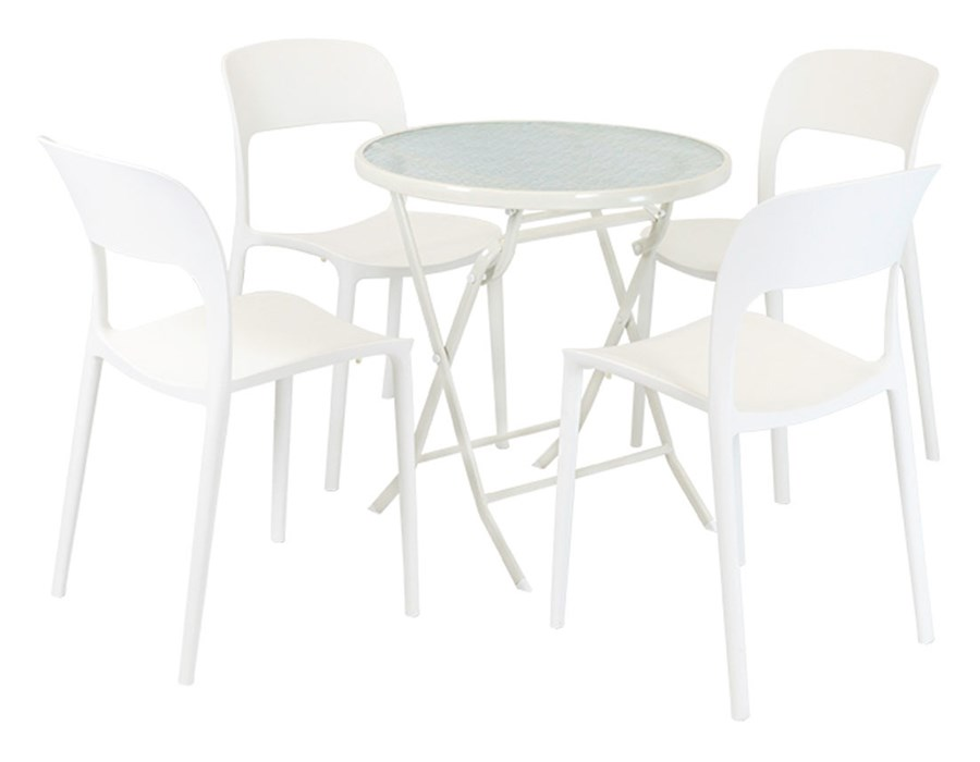 Allegro Zestaw Biały Stół Fi 70 4 Białe Krzesła Flexi Stoły Z