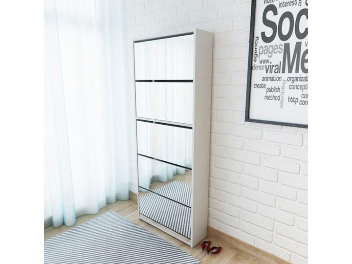 vidaXL Szafka na buty z 5 półkami, lustrzana, biała, 63x17x169,5 cm Płyta MDF Szkło Styl Nowoczesny