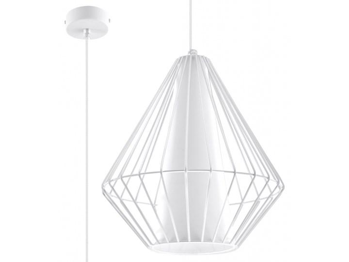 SOLLUX Stylowy Minimalizm! Designerska Lampa wisząca DEMI Biała E27 Lampa z kloszem Stal Metal Lampa druciana Styl Nowoczesny