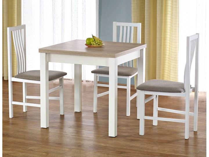 Kwadratowy rozkładany stół kuchenny Cubires - biały + dąb sonoma Drewno Szerokość 80 cm Długość 80 cm  Wysokość 76 cm Rozkładanie