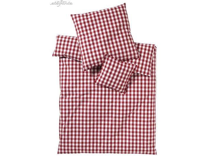 Pościel perkalowa Elegante Quadro Red 100% bawełna Styl klasyczny tkanina Rozmiar(poprawny) 200x220 cm
