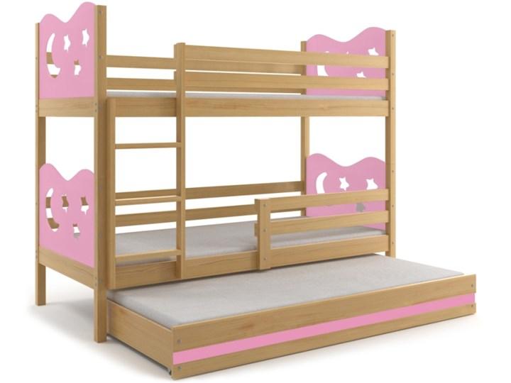 łóżko Piętrowe Miko 3 Osobowe Sosna Różowe 190x80