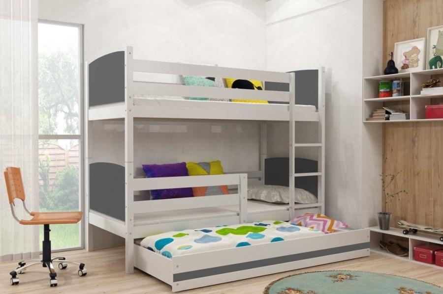 łóżko Piętrowe Tami 3 Osobowe Białe Grafit 200x90 łóżka