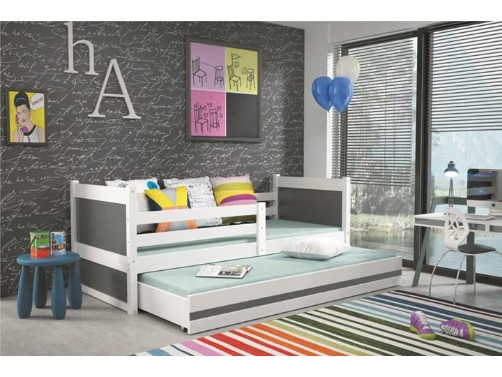 łóżko Młodzieżowe Rico 2 Osobowe Wysuwane Białe Grafit 200x90