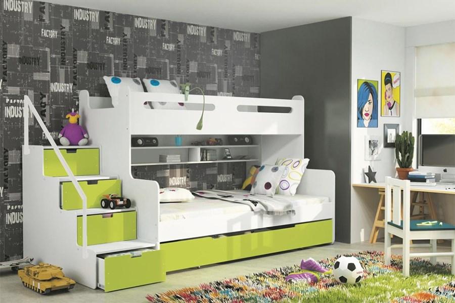 łóżko Piętrowe Max 3 3 Osobowe Zielone łóżka Piętrowe
