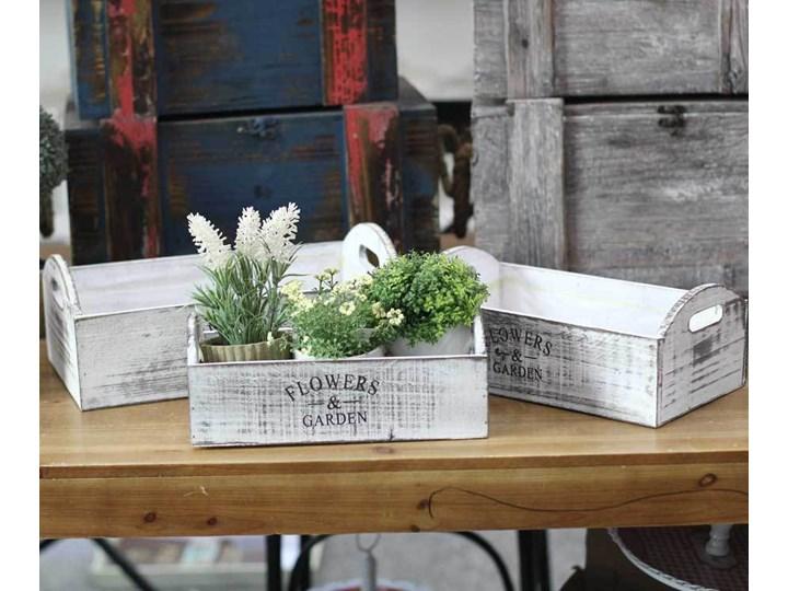 3x Doniczki Skrzynki Drewniane Na Kwiaty Prowansja Biały