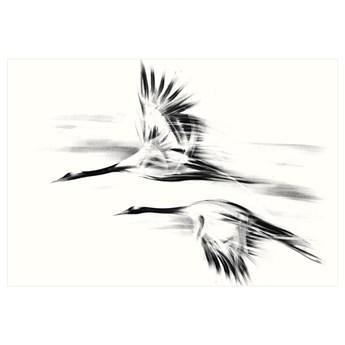 ŻURAWIE 2, SERIA SHANGHAI PREMIUM - Czarno-biały obraz do salonu, elegancki, mieniący się srebrem.
