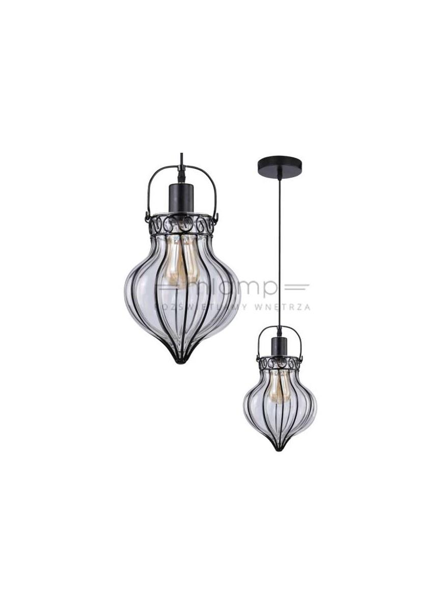 Wisząca Lampa Retro Snitch 31 43450 Candellux Szklana Oprawa Zwis Koszyczek Czarny Przezroczysty