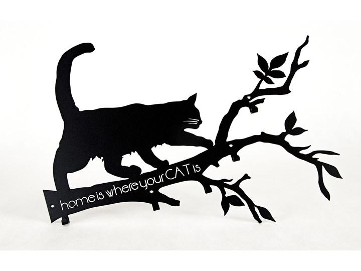 Wieszak na ścianę, Home is where your Cat is... - Biały Ścienny Metal