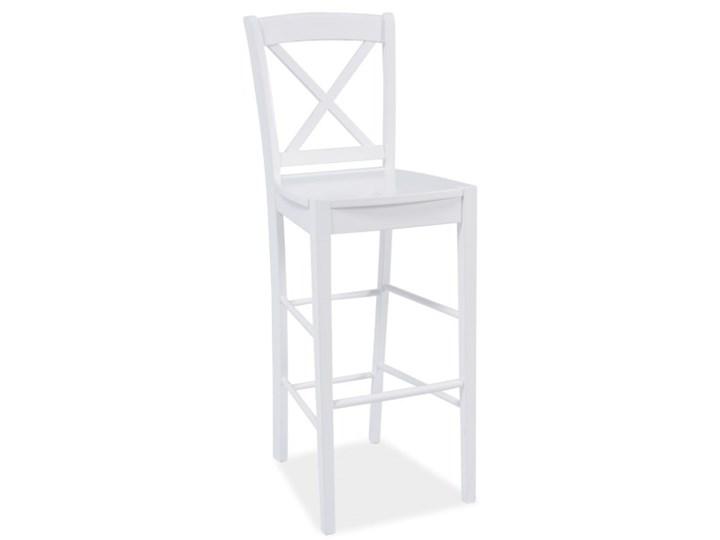 Krzesło Barowe CD-964 Biały Hoker z oparciem tkanina Drewno Styl klasyczny