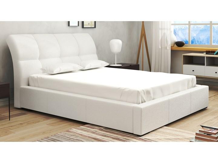Moria Stylowe Białe łóżko Sypialniane Z Ekoskóry W Trzech Wymiarach