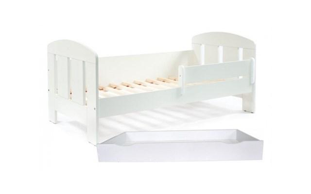 Białe łóżko Dziecięce 140x70 Z Barierką I Z Szufladą Flores łóżka