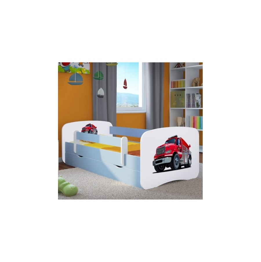 łóżko Dziecięce Z Materacem Super Straż Biało Niebieskie