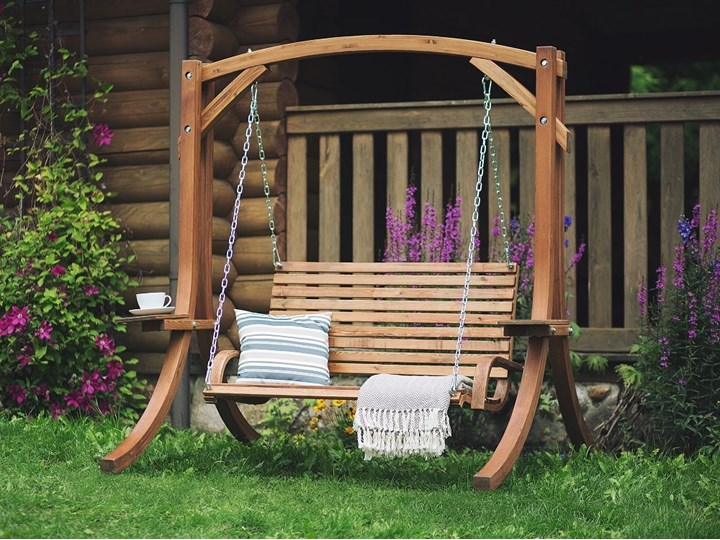 Huśtawka ogrodowa drewniana miejsce na 2 osoby tradycyjny rustykalny design Styl Nowoczesny