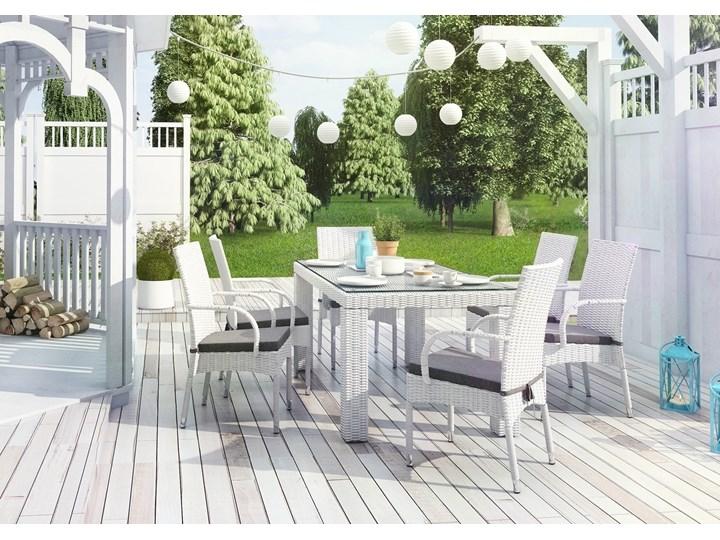 Meble ogrodowe RAPALLO 160cm royal białe Rattan Tworzywo sztuczne Technorattan Stoły z krzesłami Aluminium Styl Minimalistyczny