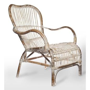 Fotel rattanowy CANNES biały przecierany