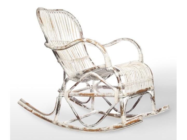 Fotel rattanowy bujany MARSEILLE biały przecierany Bujane Styl Vintage