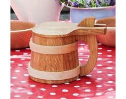 Kufel drewniany do piwa z dekielkiem TOAST