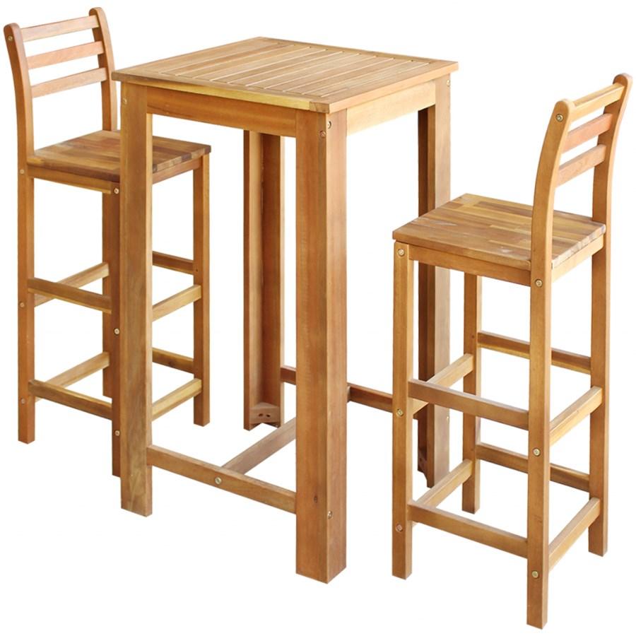 Vidaxl Stolik Barowy I Krzesła 3 Elementy Drewno Akacjowe