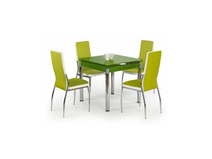 Stół Szklany Rozkładany Kent Zielony 4 Krzesła K210 Zielone Białe Halmar