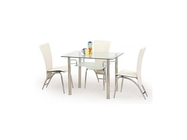 Stół Szklany Bezbarwny Erwin 3 Krzesła K46 Krem Halmar
