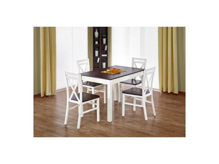 Stół Maurycy ciemny orzech biały + 4 krzesła Dariusz 2 białe ciemny orzech Halmar