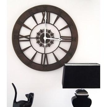 Metalowy zegar ścienny, styl rustykalny.