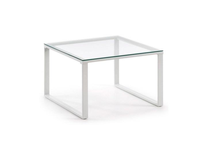 Stolik biały NAVIS Styl klasyczny Prostokątne Szkło Metal Wysokość 38 cm Lampa inspirowana Rozmiar blatu 60x60 cm