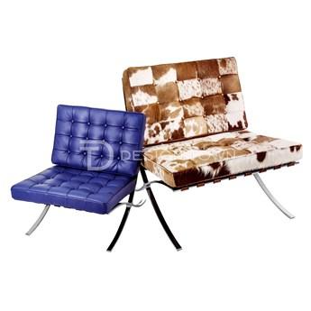 Niebieski Fotel dziecięcy Skóra Naturalna Inspirowany Projektem Barcelona