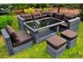 Komplet z technorattanu MAESTOSO szary Aluminium Zestawy wypoczynkowe tkanina wiklina Tworzywo sztuczne szkło ogrodowe Zawartość zestawu Sofa