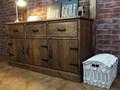 Drewniana komoda sosnowa Rustyk 7/1 Szerokość 152 cm Wysokość 80 cm Z szufladami Drewno Głębokość 46 cm Styl Klasyczny