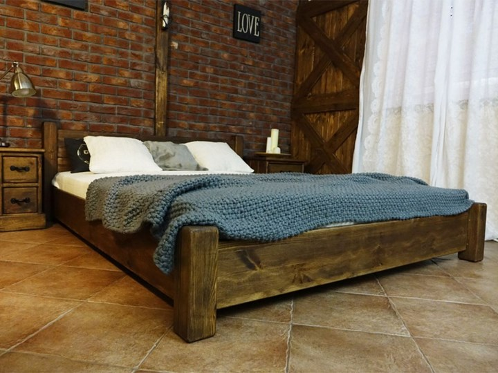 Łóżko Drewniane Sosnowe Rustyk / Ostrowit II 140 Rozmiar materaca 140x200 cm