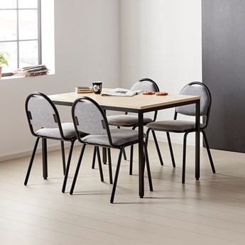 Stół do jadalni JAMIE, 1200x800x735 mm, laminat, brzoza, czarny