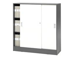 Szafa FLEXUS z drzwiami przesuwnymi, 3 półki, 1325x1200x415 mm, szary/biały